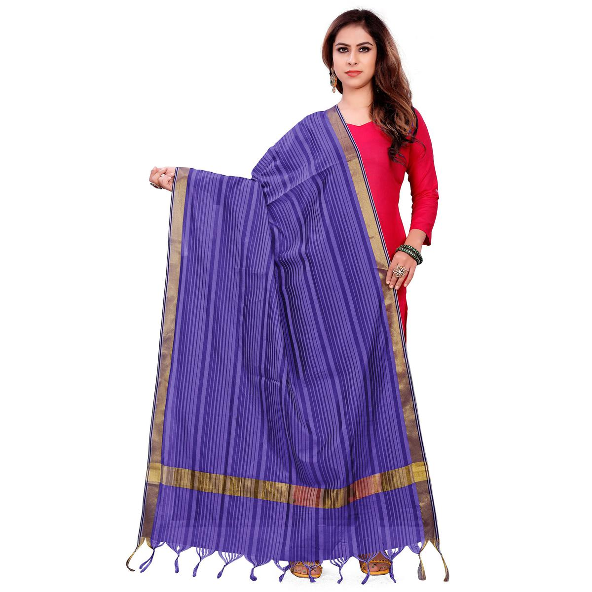 Captivating Royal Blue Colored Festive Wear Woven Silk Blend Dupatta With Tassels