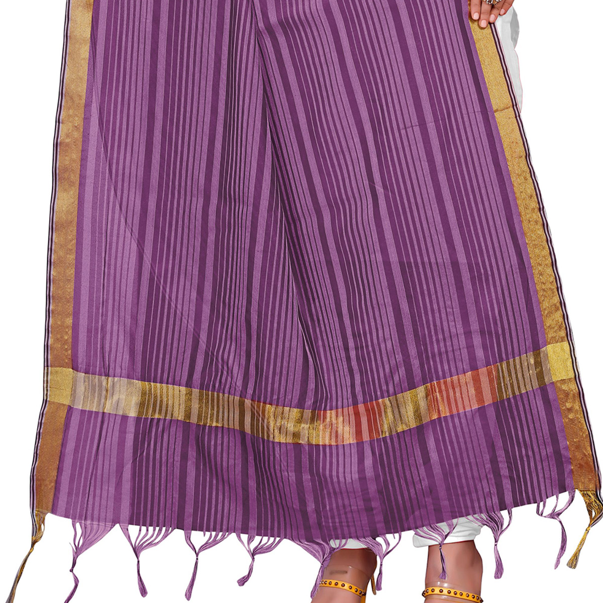 Eye-catching Light Purple Colored Festive Wear Woven Silk Blend Dupatta With Tassels