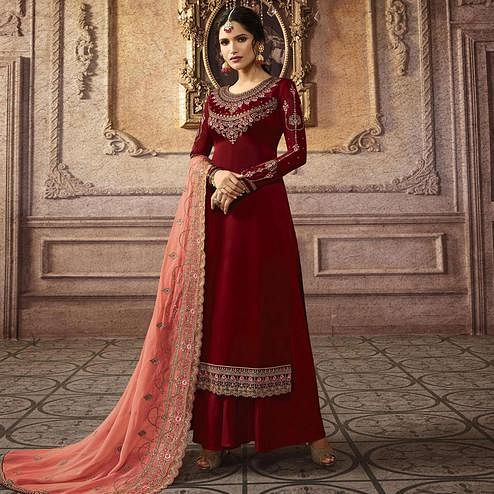 Stunning Maroon Colored Partywear Embroidered Faux Georgette Palazzo Suit