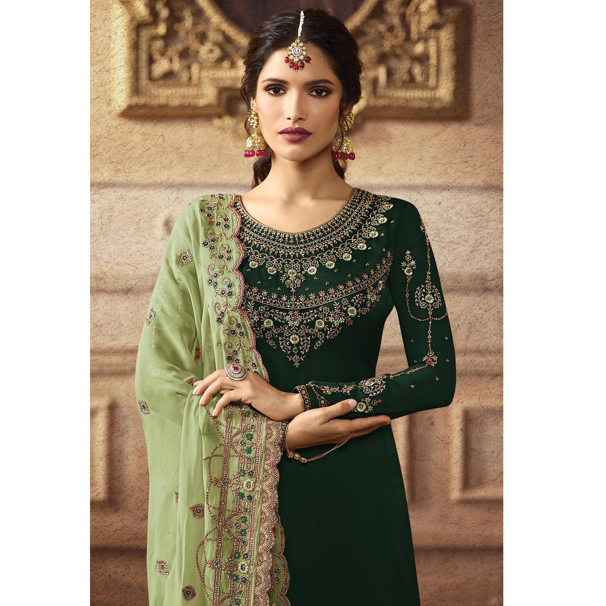 Flaunt Green Colored Partywear Embroidered Faux Georgette Palazzo Suit