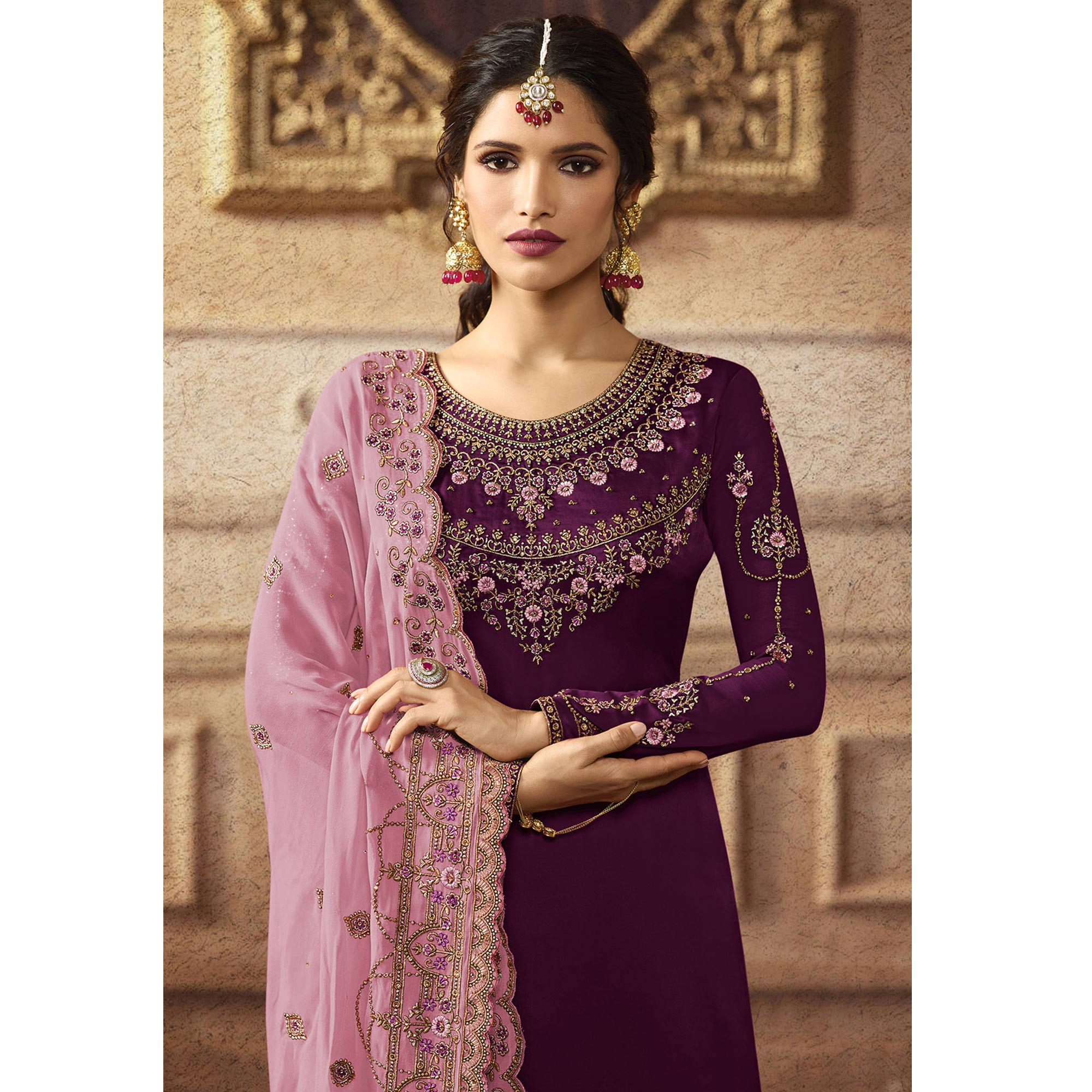 Sensational Purple Colored Partywear Embroidered Faux Georgette Palazzo Suit