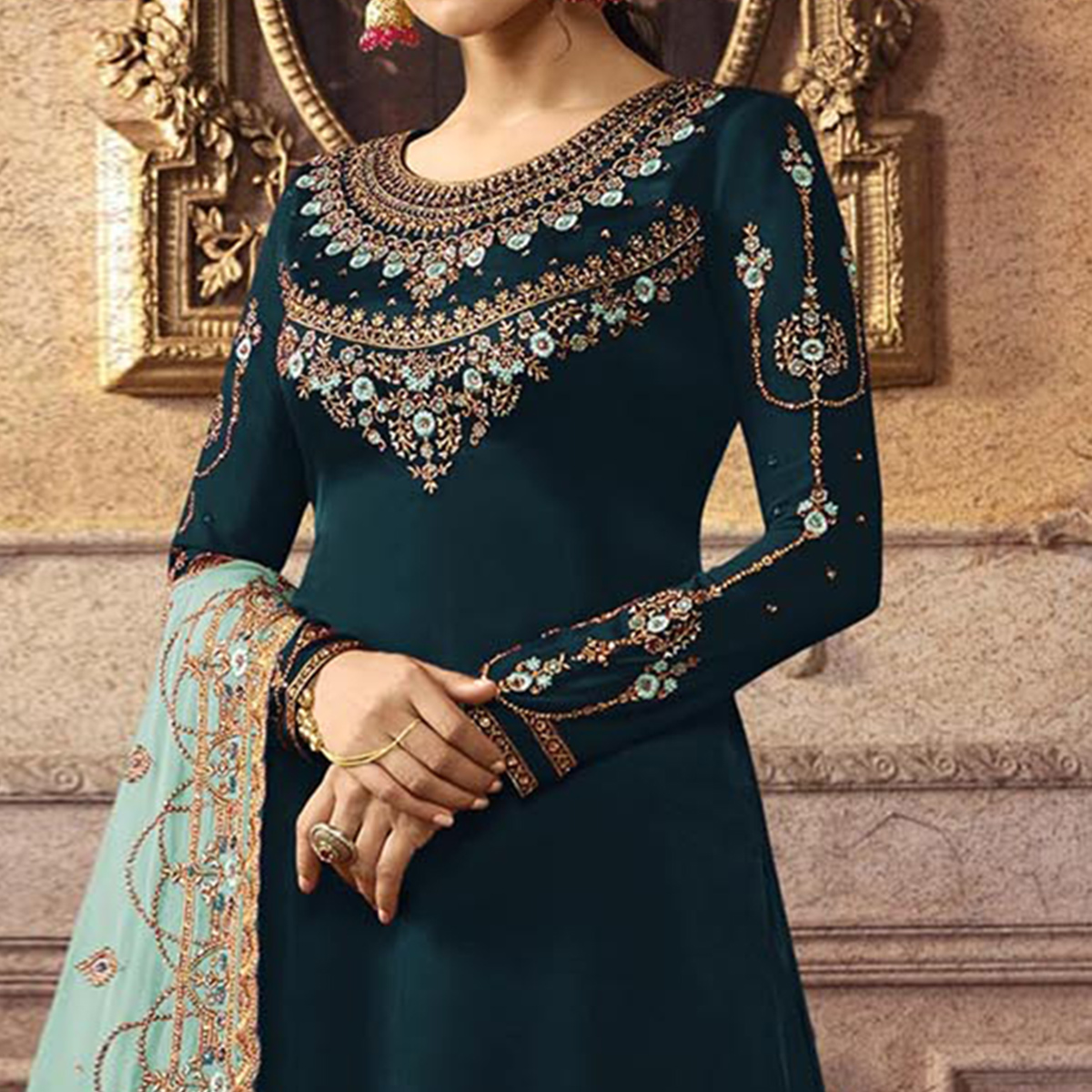 Breathtaking Teal Blue Colored Partywear Embroidered Faux Georgette Palazzo Suit