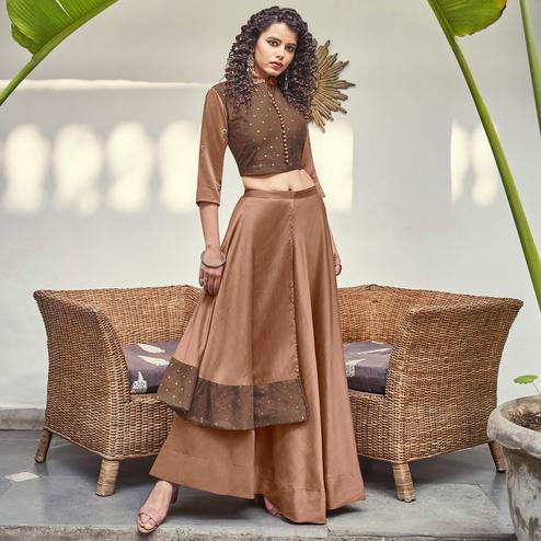 Preferable Brown Colored Partywear Indo Western Silk Top-Skirt Set