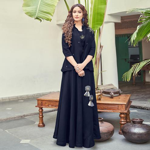 Marvellous Navy Blue Colored Partywear Indo Western Satin Top-Skirt Set
