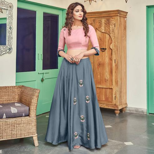 Flamboyant Grey Colored Partywear Indo Western Art Silk Top-Skirt Set
