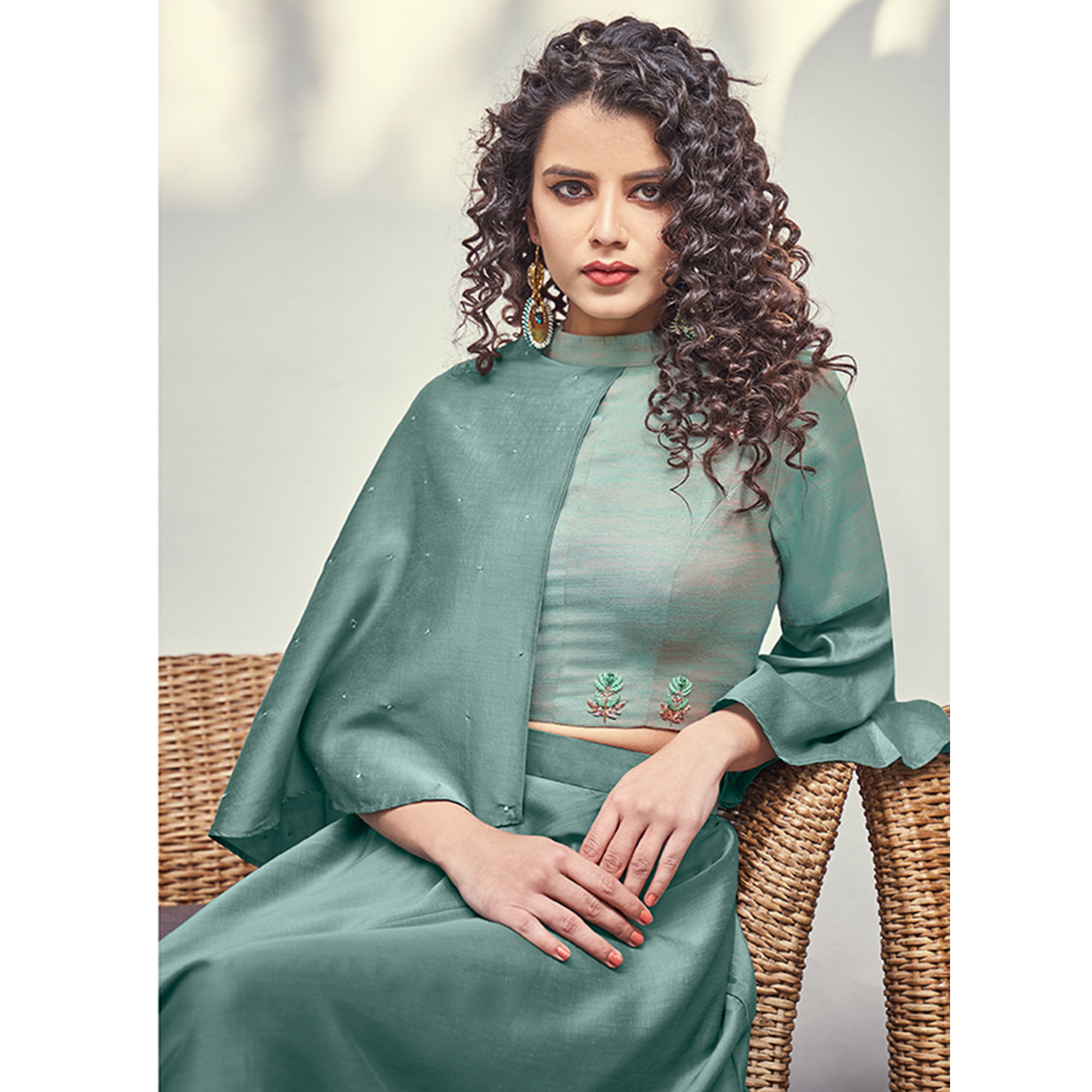 Alluring Sea Green Colored Partywear Indo Western Silk Top-Skirt Set