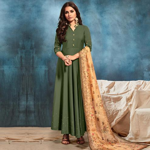 Stunning Green Colored Party Wear Embroiered Silk Blend Long Kurti With Dupatta