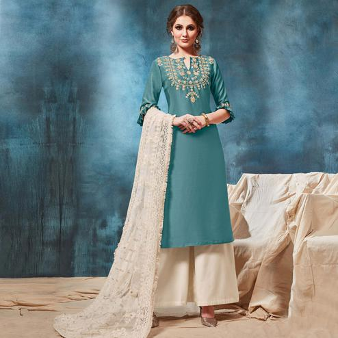 Lovely Teal Blue Colored Party Wear Embroidered Silk Palazzo Suit