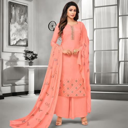 Pretty Peach Colored Party Wear Embroidered Cotton Silk Palazzo Suit
