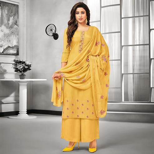 Alluring Yellow Colored Party Wear Embroidered Cotton Silk Palazzo Suit