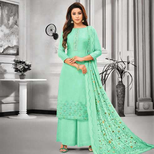 Flaunt Turquoise Green Colored Party Wear Embroidered Cotton Silk Palazzo Suit