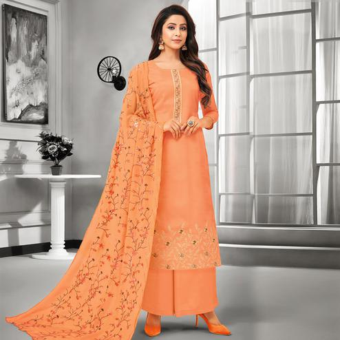 Stunning Orange Colored Party Wear Embroidered Cotton Silk Palazzo Suit