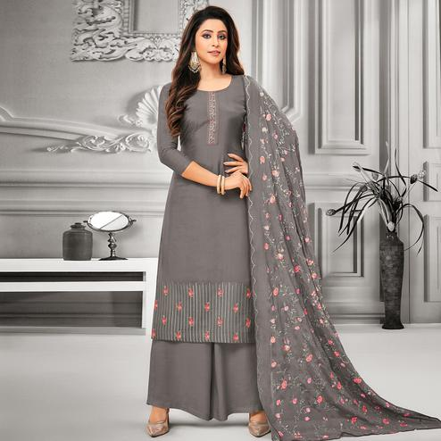Flirty Grey Colored Party Wear Embroidered Cotton Silk Palazzo Suit