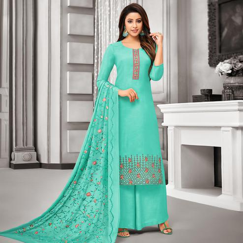 Staring Aqua Green Colored Party Wear Embroidered Cotton Silk Palazzo Suit