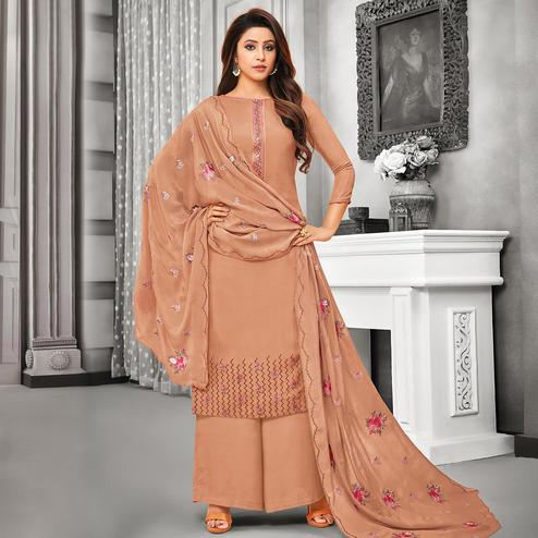 Dazzling Brown Colored Party Wear Embroidered Cotton Silk Palazzo Suit