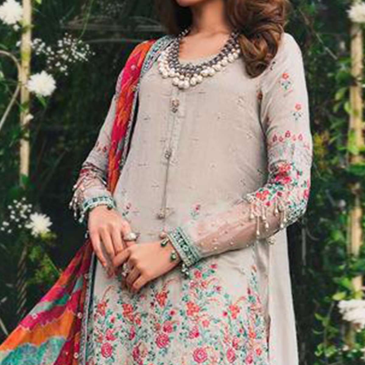 Ethnic Grey Colored Party Wear Embroidered Cotton Designer Suit