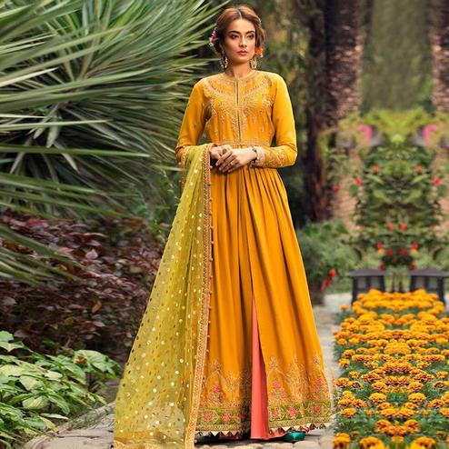 Ravishing Mustard Yellow Colored Party Wear Embroidered Viscose-Rayon Designer Suit