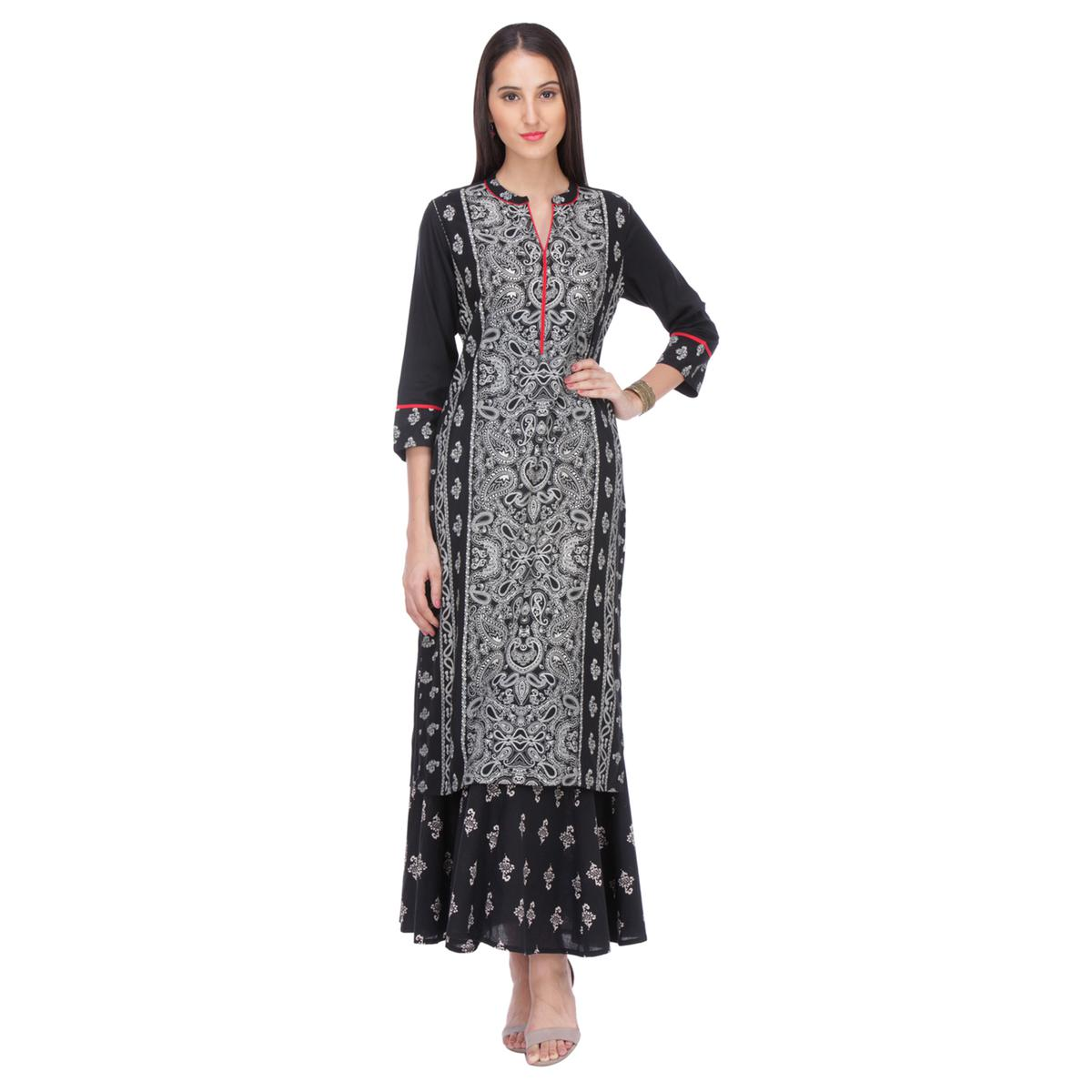 Black - Grey Printed Rayon Kurti