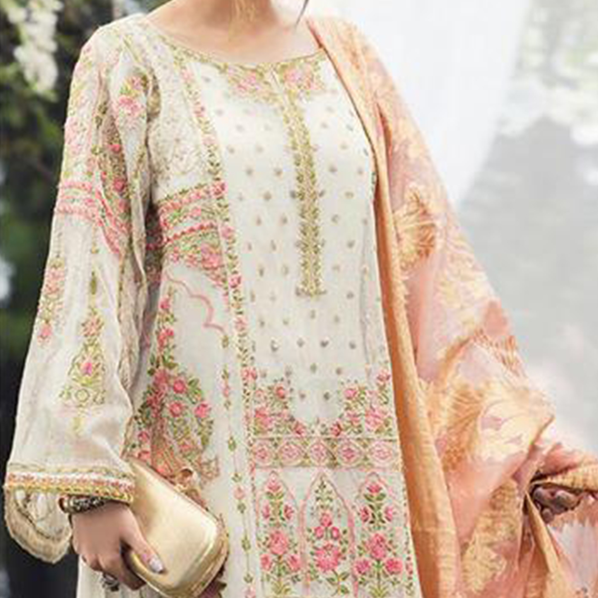 Pretty Off White Colored Party Wear Embroidered Cotton Designer Suit