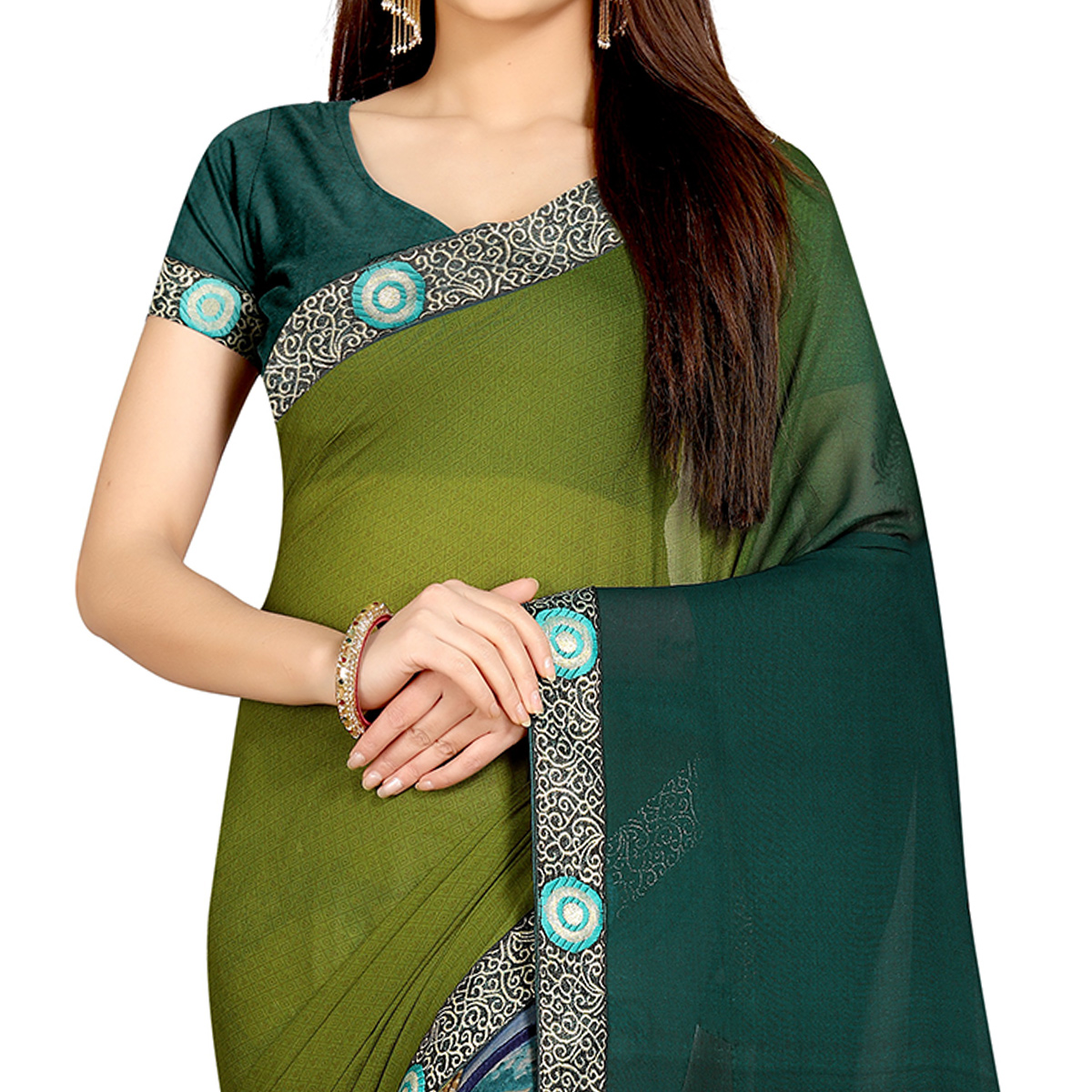 Intricate Grey-Green Colored Casual Wear Printed Georgette Half-Half Saree