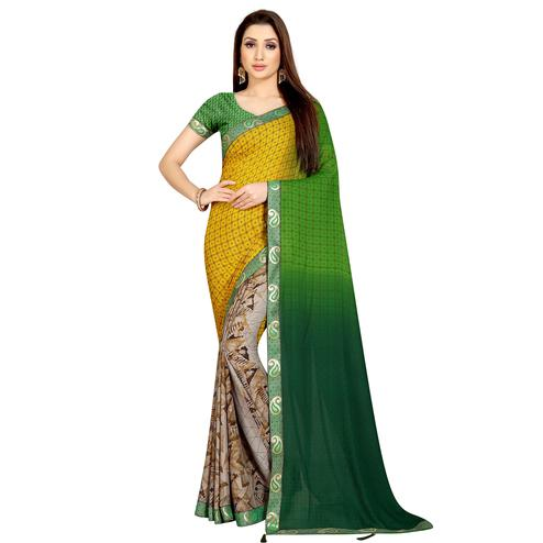 Desirable Beige-Green Colored Casual Wear Printed Georgette Half-Half Saree