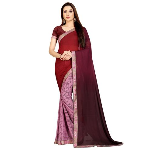 Exotic Pink-Maroon Colored Casual Wear Printed Georgette Half-Half Saree