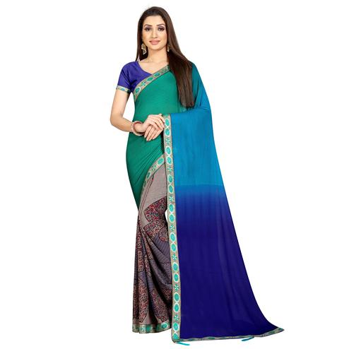 Trendy Multi Colored Casual Wear Printed Georgette Half-Half Saree