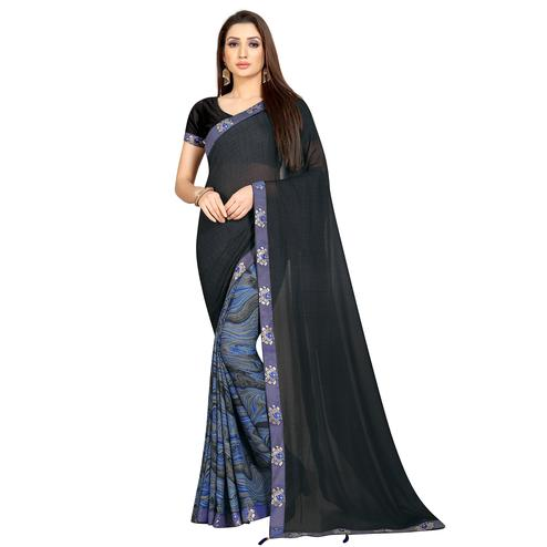 Radiant Blue-Grey Colored Casual Wear Printed Georgette Half-Half Saree