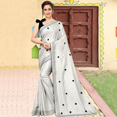 Intricate Grey Colored Party Wear Embroidered Art Silk Saree