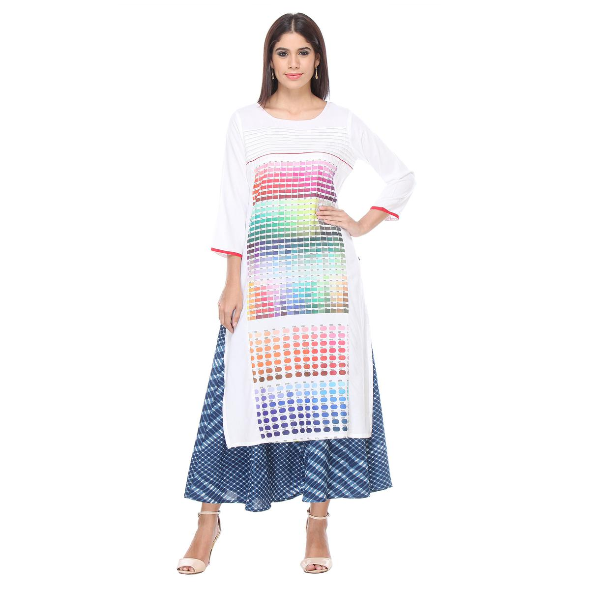 White Color Code Design Pritned Kurti