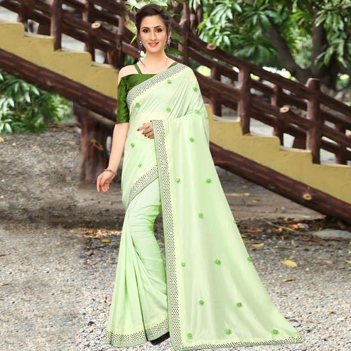 Arresting Green Colored Party Wear Embroidered Art Silk Saree