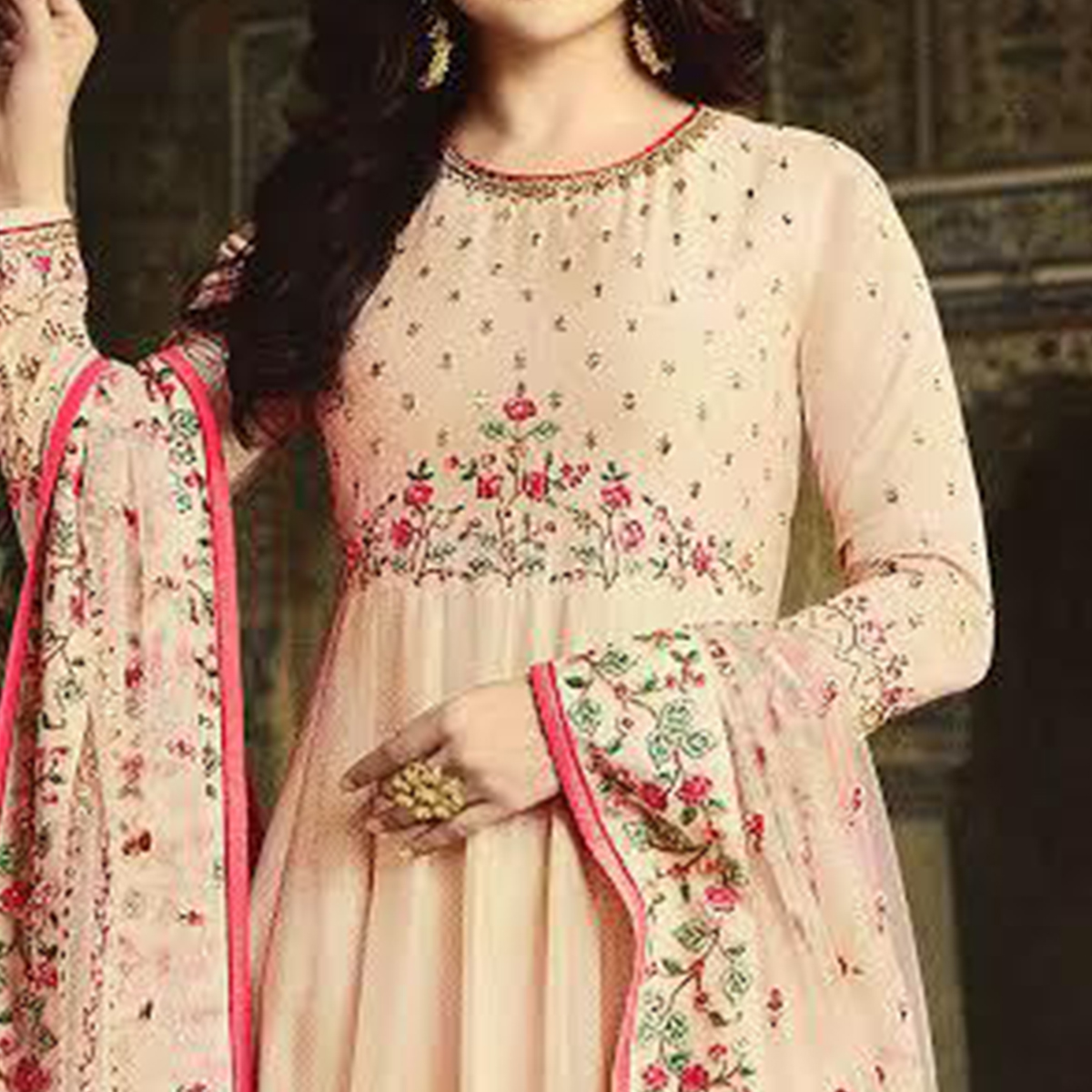 Classy Light Peach Colored Party Wear Floral Embroiered Art Silk Anarkali Suit