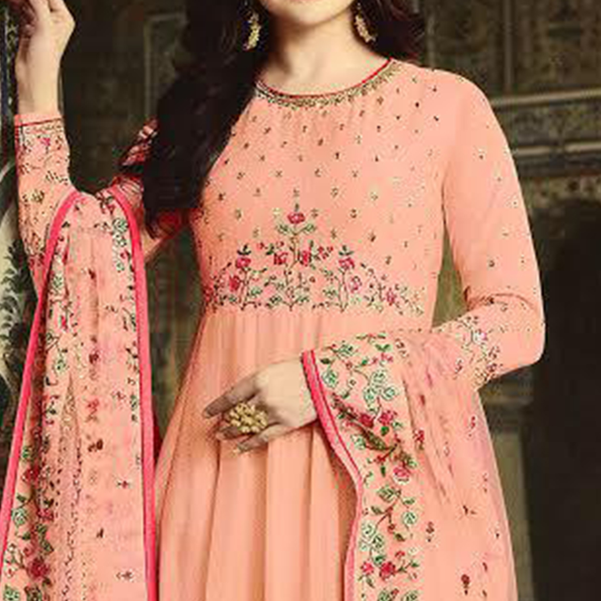 Intricate Peach Colored Party Wear Floral Embroiered Art Silk Anarkali Suit