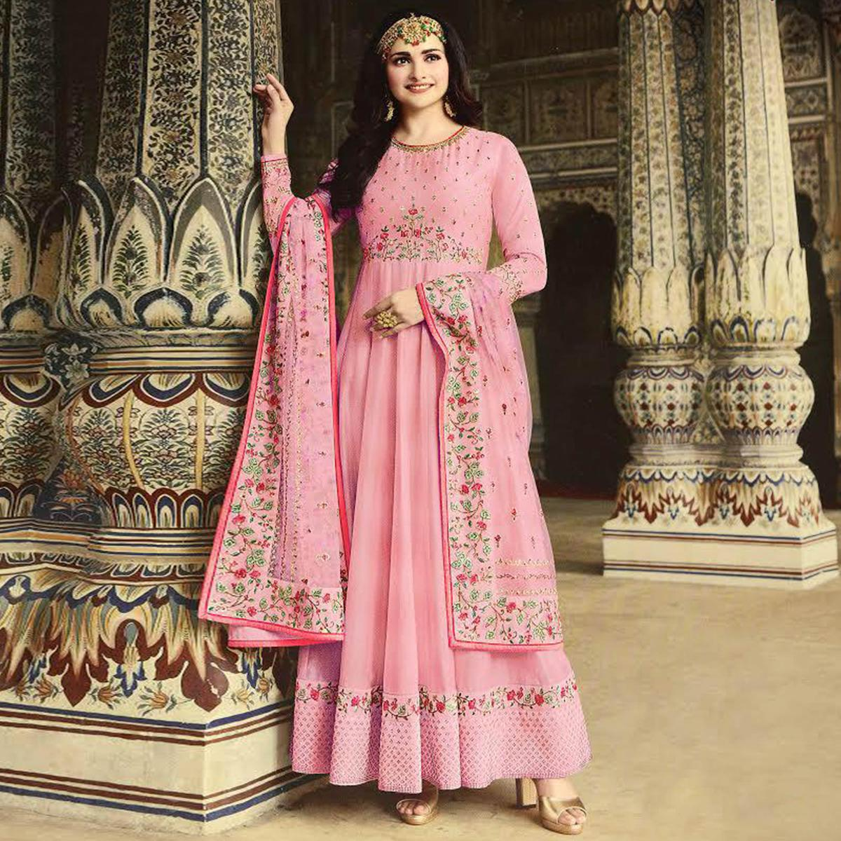 Arresting Pink Colored Party Wear Floral Embroiered Art Silk Anarkali Suit