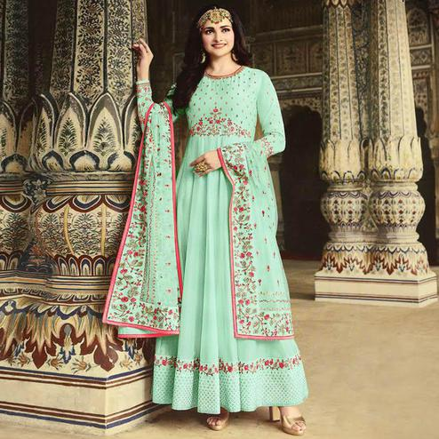 Exotic Blue Colored Party Wear Floral Embroiered Art Silk Anarkali Suit