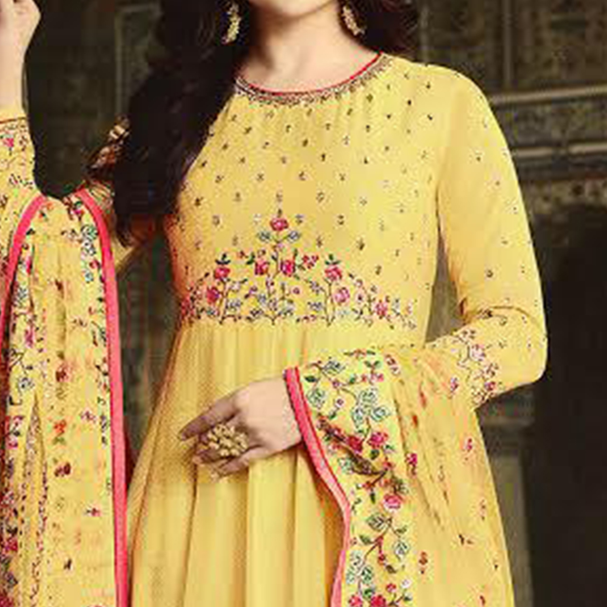 Beautiful Yellow Colored Party Wear Floral Embroiered Art Silk Anarkali Suit