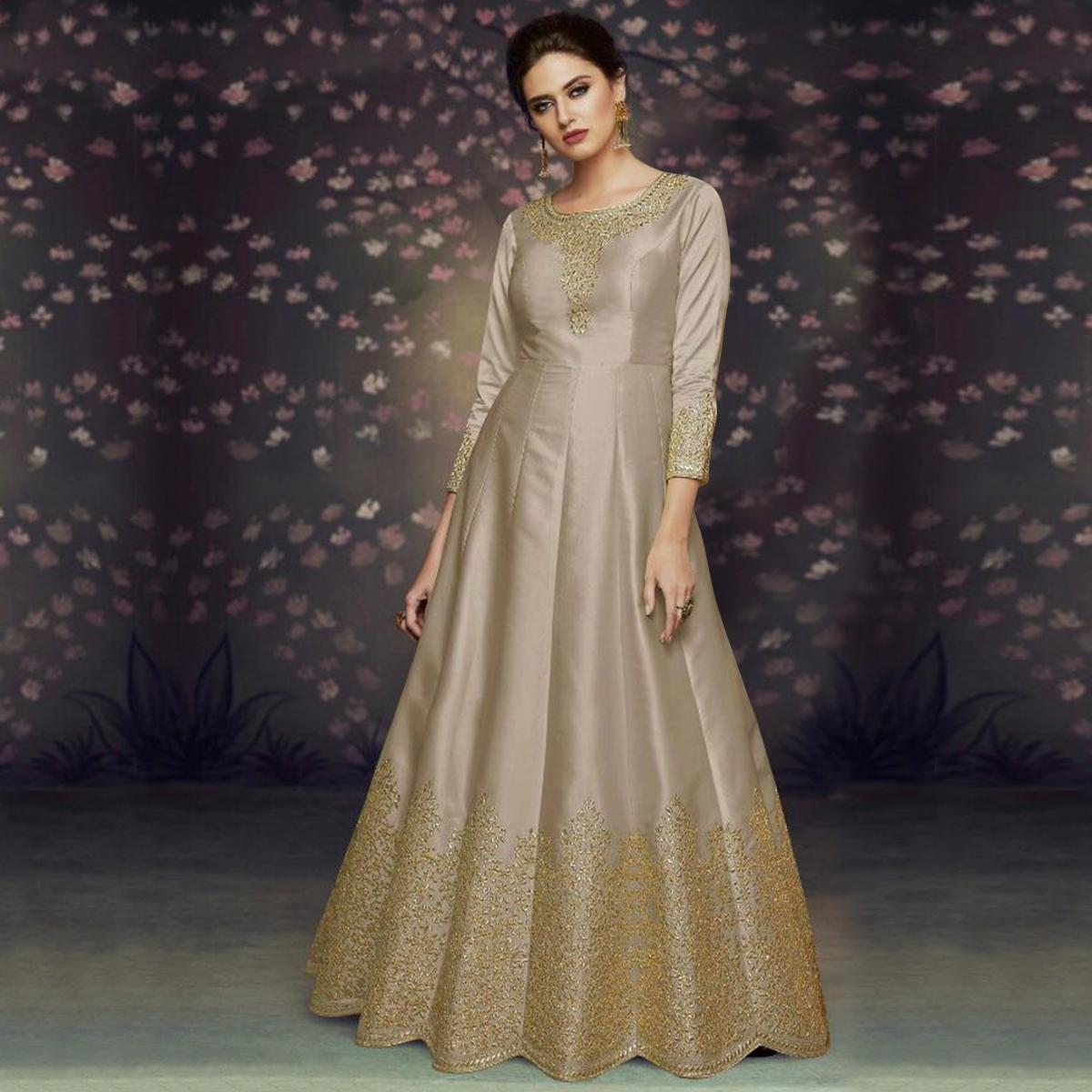 Ideal Grey Colored Party Wear Embroidered Art Silk Anarkali Suit