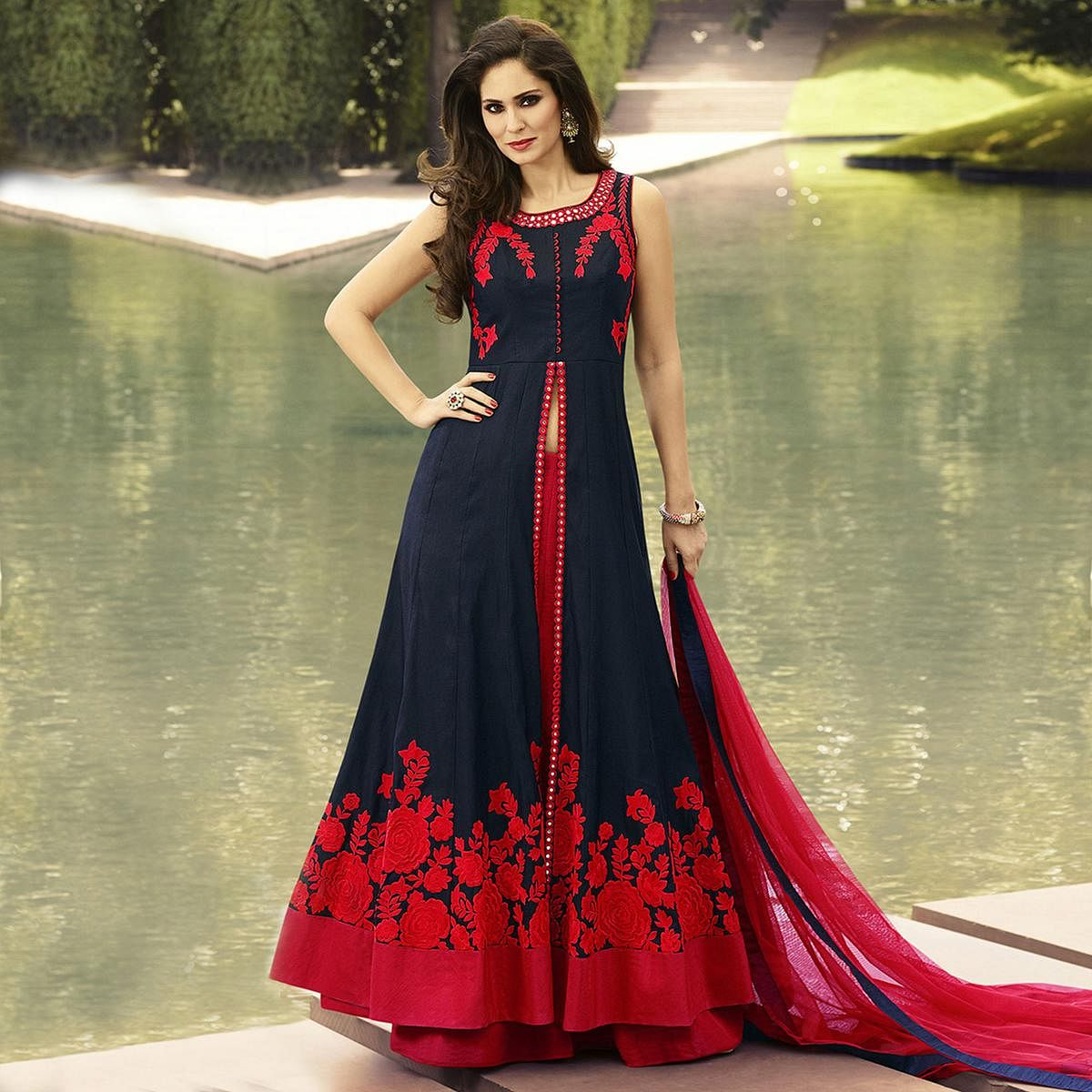 Navy Blue - Red Lehenga Suit