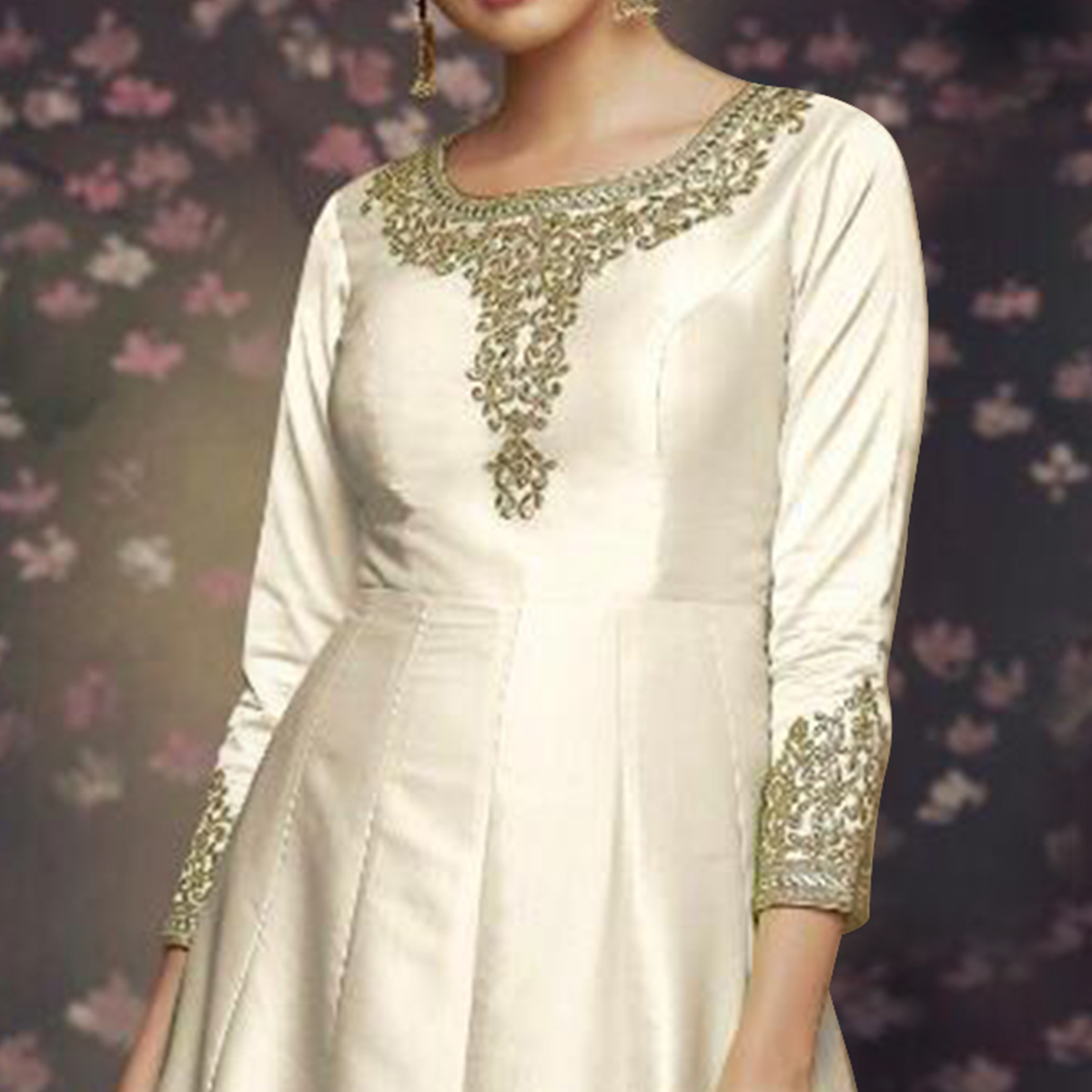 Imposing Off White Colored Party Wear Embroidered Art Silk Anarkali Suit