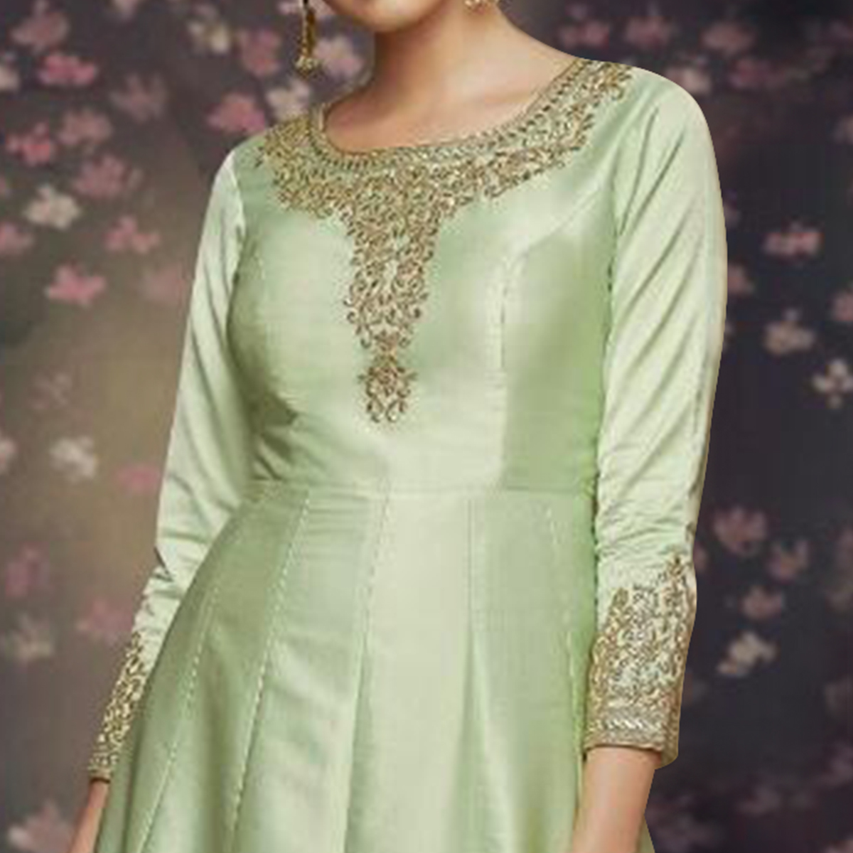 Lovely Green Colored Party Wear Embroidered Art Silk Anarkali Suit
