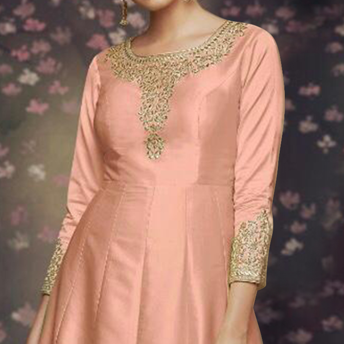 Majesty Peach Colored Party Wear Embroidered Art Silk Anarkali Suit