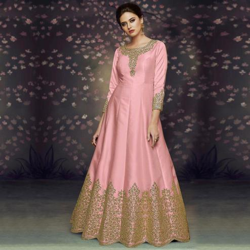 Impressive Pink Colored Party Wear Embroidered Art Silk Anarkali Suit