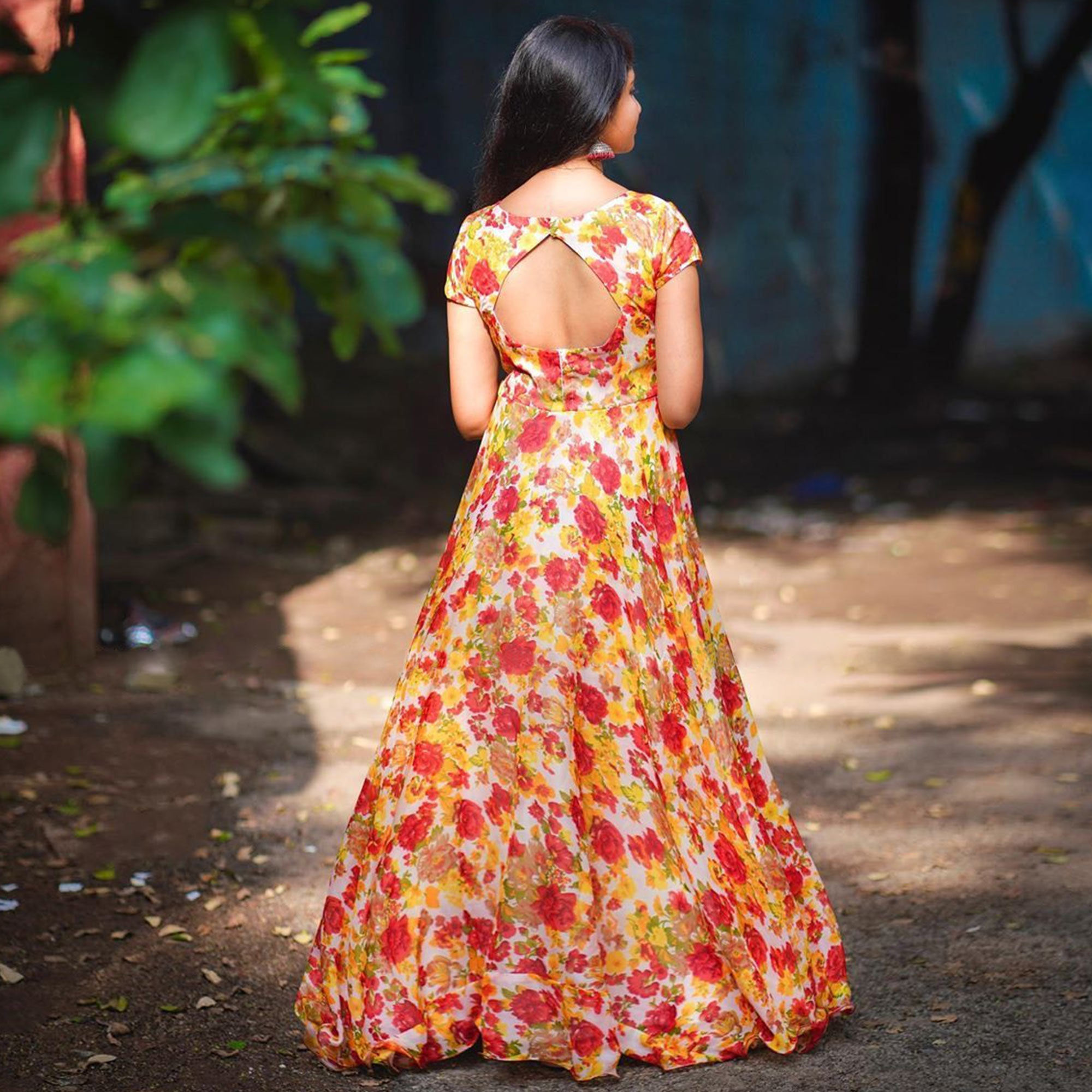 Arresting Yellow-Red Colored Party Wear Printed Georgette Gown