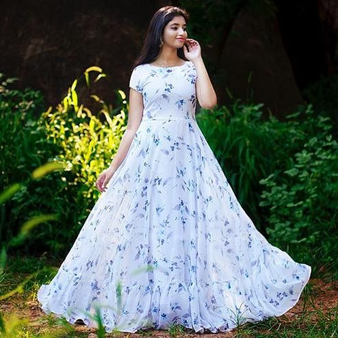 Adorable White Colored Party Wear Printed Georgette Gown