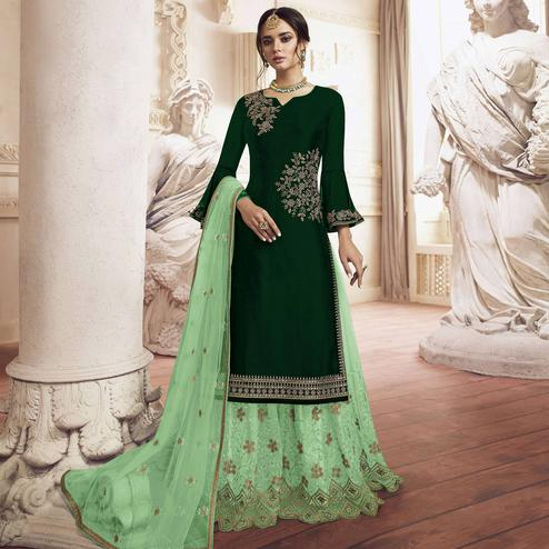 Staring Bottle Green Colored Partywear Handwork Georgette Palazzo Suit
