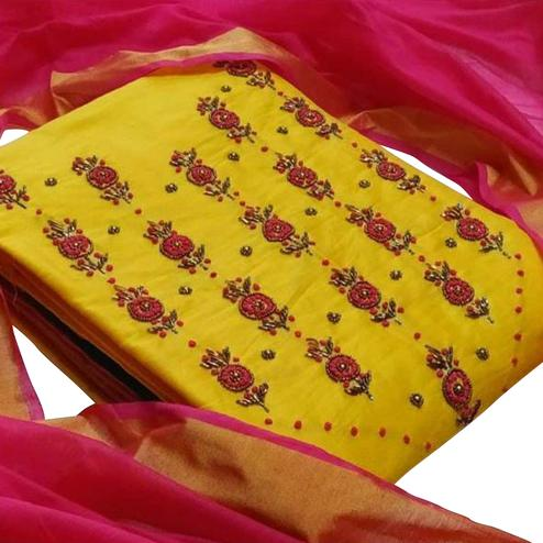 Unique Yellow Colored Party Wear Embroiered Cotton Silk Dress Material