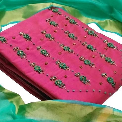 Desirable Pink Colored Party Wear Embroiered Cotton Silk Dress Material
