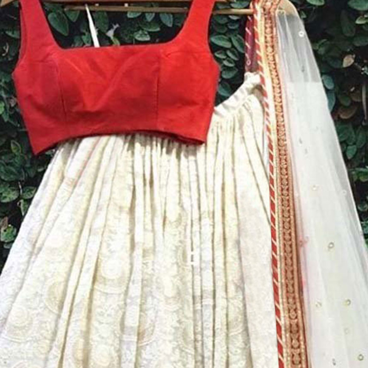 Classy White-Red Colored Party Wear Embroidered Georgette Lehenga Choli