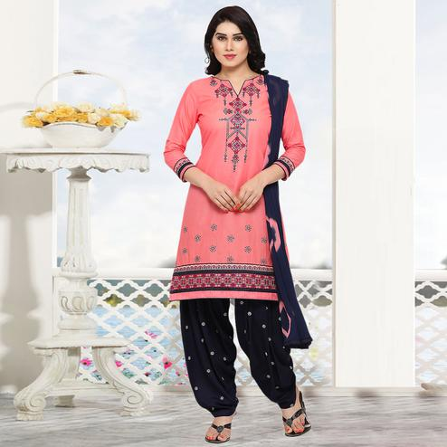 Adorable Pink Colored Partywear Embroidered Cotton Patiala Dress Material