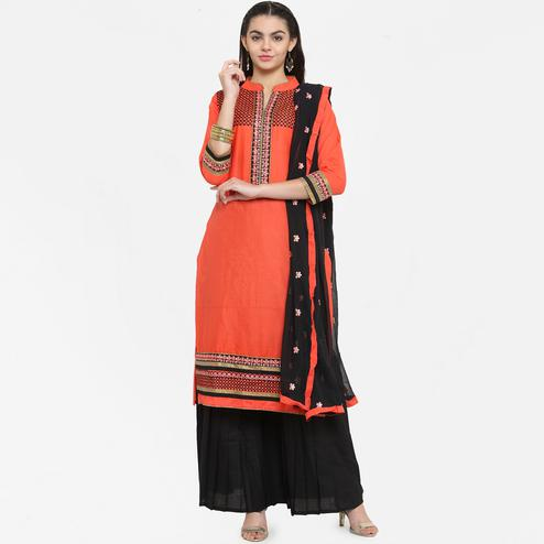 Glorious Orange Colored Partywear Embroidered Cotton Dress Material